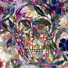 Skull on colored creative abstract background