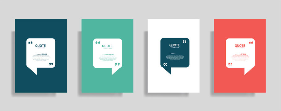 Quotes frame blank templates set. Text in brackets, citation empty speech bubbles. Text box isolated on color background.