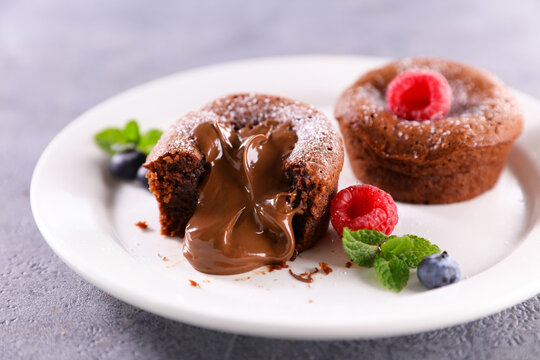 chocolate fondant and fresh raspberries