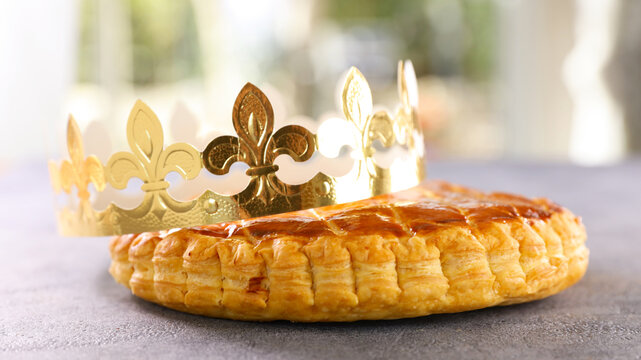 homemade epiphany cake with crown