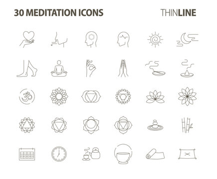 meditation 30 icons set-Pictograms with editable stroke