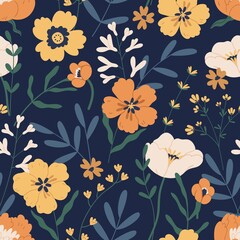 Fototapeta Gorgeous seamless pattern with anemones on black background. Floral design with elegant flowers for printing and decoration. Repeatable botanical backdrop. Colorful flat vector illustration