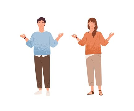 Man and woman meditating trying to keep equanimity and calmness vector flat illustration. Calm male and female characters standing with closed eyes demonstrate balance and concentration isolated