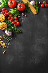Cooking background with pasta and vegetables