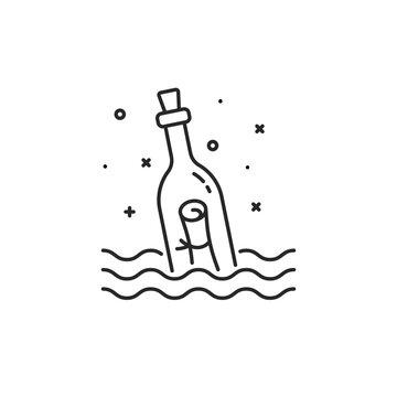 black message bottle thin line icon