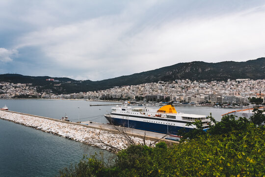 Vessel moored in the port of Kavala, Greece