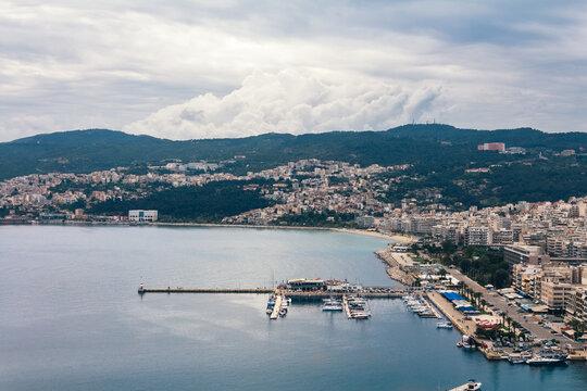 Landscape of Kavala city on a cloudy day, Greece