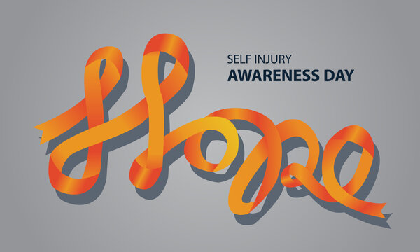 vector illustration of self-injury awareness concept, ribbon in the shape of hope