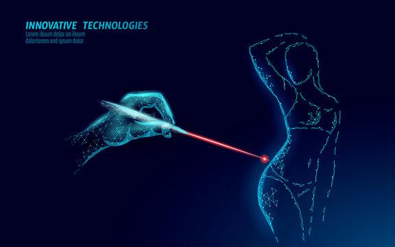 Cellulite laser correction bodycare. Woman healthy care anti-cellulite salon care cream gel. Slim shape fitness sculpt stretch mark removal vector illustration