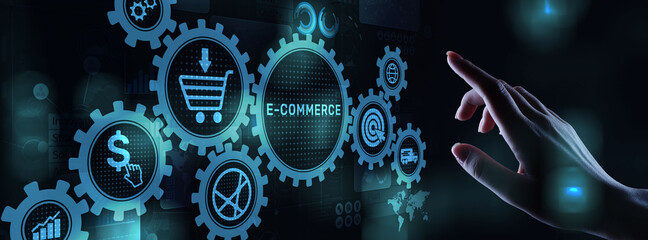 Obraz E-commerce business online digital internet shopping concept on virtual screen. - fototapety do salonu