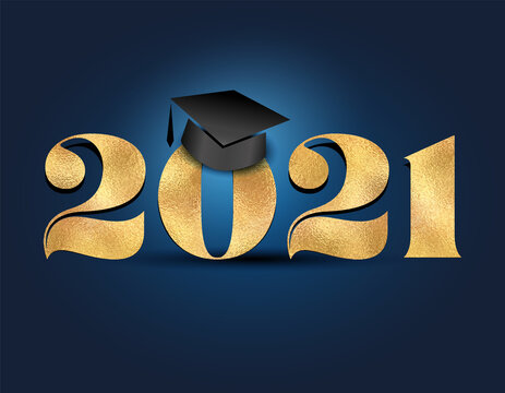 Class of 2021 Congratulations Graduate - Typography. Gold sticker and isolated dark blue background. Good for T-shirt, high school or college graduate. bold lettering for greeting, invitation card.