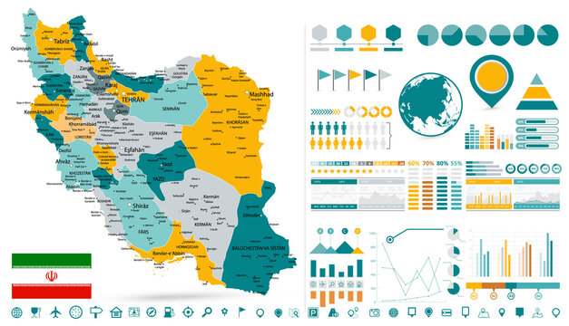 Iran Map and Infographic design elements