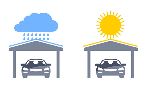 Carports isolated vector icons