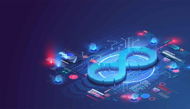 Devops software development operations infinity symbol. Web development concept in isometric design. Developing of internet app, online website service.  Landing page layout or banner template. Vector