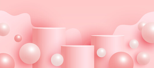 Empty mock up scene with podium or platform , volumetric ball shapes on a pink background. Minimal scene with geometrical forms for product presentation. Vector illustration - fototapety na wymiar