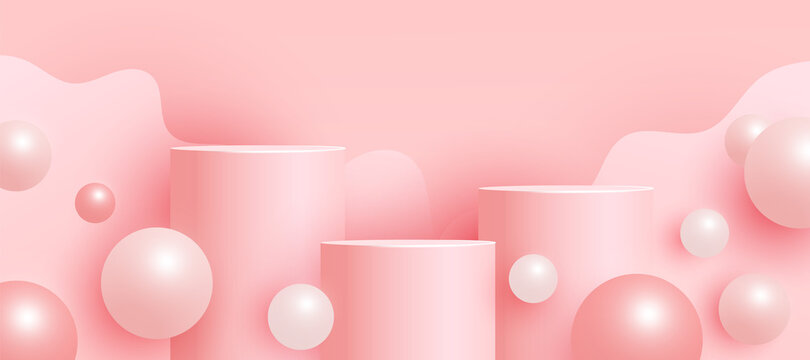 Empty mock up scene with podium or platform , volumetric ball shapes on a pink background. Minimal scene with geometrical forms for product presentation. Vector illustration