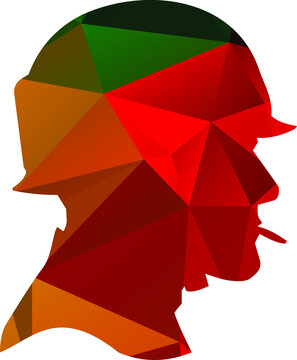 Vector image of soldier silhouette colored with polygonal pattern