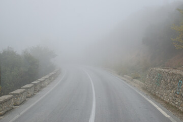 Foggy road in the Meteora region of Greece