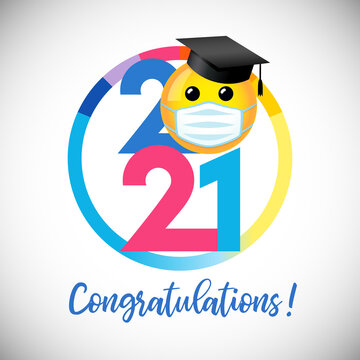 Class of 2021 year graduating banner, awards concept. Creative funny 3D sign, lock down happy holiday invitation poster. Isolated abstract graphic design template. Round symbol. White color background