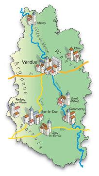 55 Carte du département de la Meuse