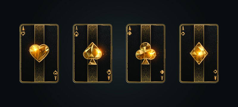 Poker card ace metallic black and gold texture shining poker cards shining