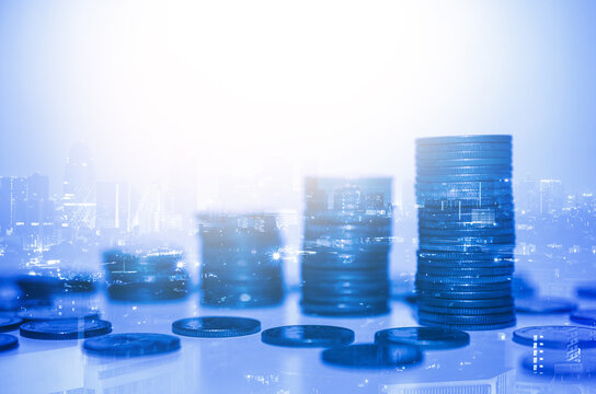 row of coin stack with double exposure night city background for financial banking and saving money and business stock investment concept.