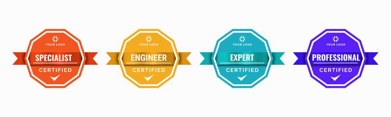 Fototapeta Set of company training badge certificates to determine based on criteria. Standard verified modern vintage colorful vector illustration. obraz