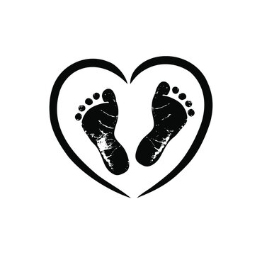 Black vector baby footprints silhouette print design. Footsteps in outline heart frame shape. Baby shower decor. New born sign icon. It's a boy, girl. Abstract love symbol. Vinyl wall sticker decal.
