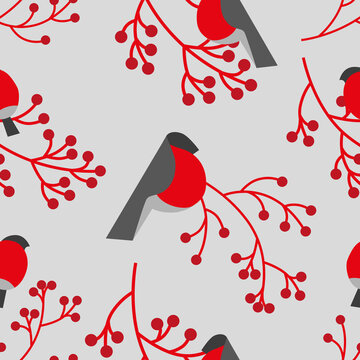 Red snowbirds and red branches on light grey background seamless vector pattern