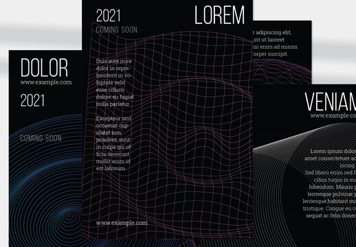 Flyer Layout with Geometric Wireframe Shapes on Black