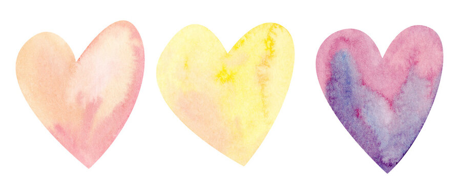 Watercolor illustration. Valentine's Day. Purple, red, orange heart. Isolated on white background.
