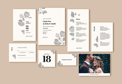 Wedding Suite Layout with Leaf Illustrations