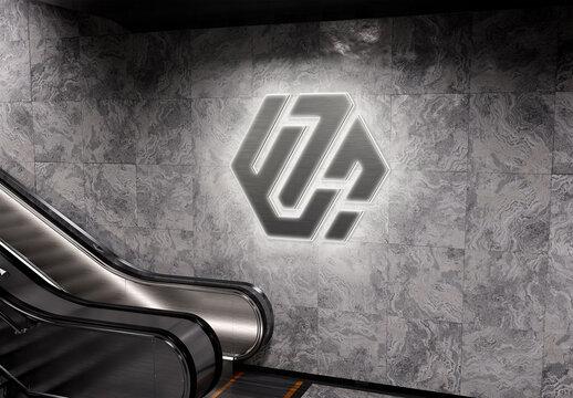 Glowing 3D Neon Sign Logo on Subway Station Wall Mockup