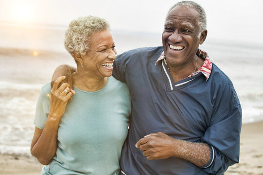 Happy Senior African American Couple on the Beach