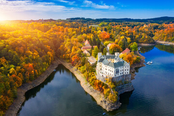 Aerial view chateau Orlik, above Orlik reservoir in beautiful autumn nature. Romantic royal...