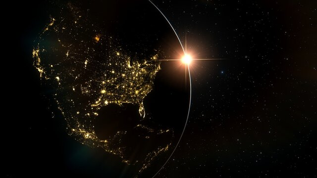 planet Earth from space, Earth satellite view, city lights from space 3D render