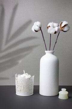 Cotton flowers in a white vase, candle and jewelry box. Gray background with the shadow of a palm leaf.