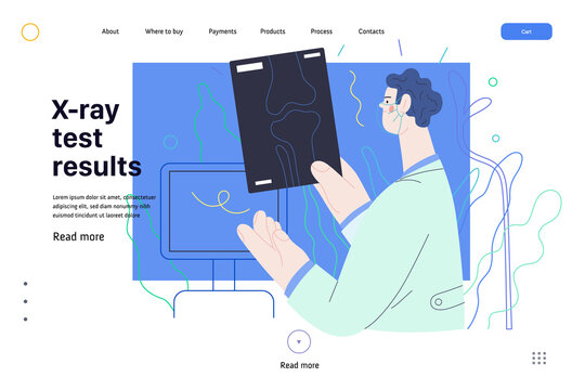 Medical tests web page template - x-ray test - modern flat vector concept digital illustration of x-ray image - a doctor looking at the radiograph , in the medical office or laboratory
