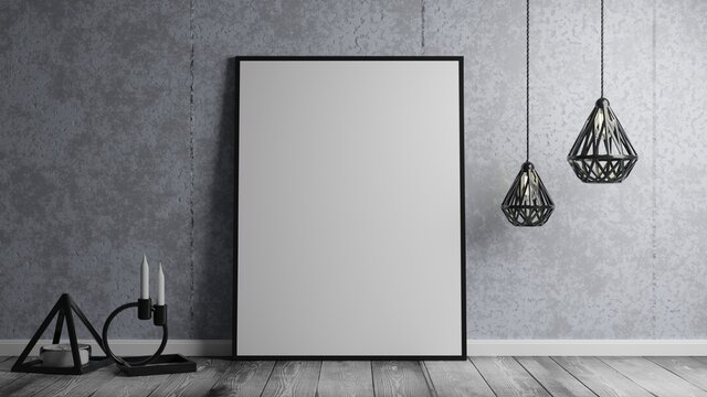 Empty framed canvas for mockups and art illustrations