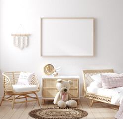 Obraz Mockup frame in children bedroom with wicker furniture, Coastal boho style, 3d render - fototapety do salonu