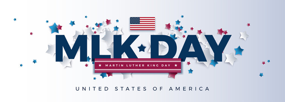 MLK Day - Martin Luther King Day powerful typography - USA flag and stars flying background - Vector illustration for banner, poster