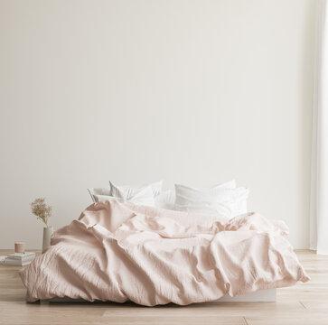 Minimalist modern bedroom interior background, Scandinavian style, 3D render
