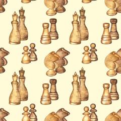 Modèle sans couture avec des pièces d& 39 échecs sur fond isolé jaune clair. Éléments dessinés à la main à l& 39 aquarelle combinés en couples.