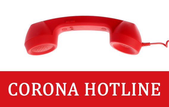 Covid-19 Hotline. Red handset and text on white background