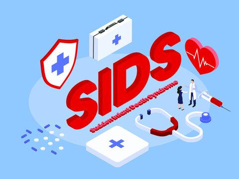 SIDS Sudden Infant Death Syndrome isometric 3d vector concept for banner, website, illustration, landing page, flyer, etc.