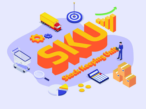 Stock Keeping Unit SKU 3D flat isometric vector concept for banner, website, illustration, landing page, flyer, etc.