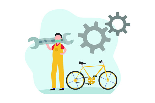 Male bike shop mechanic 2D flat vector concept for banner, website, illustration, landing page, flyer, etc.