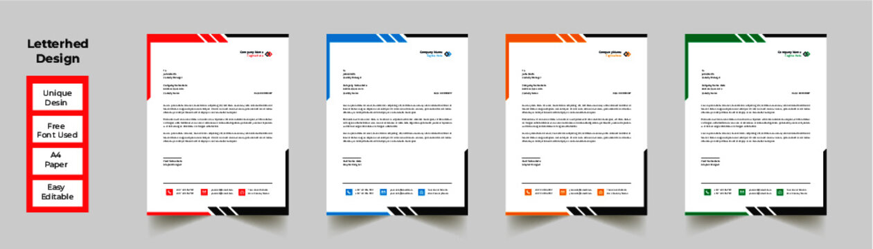 Editable Modern Abstract Creative Professional letterhead template with 4 color