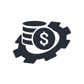 Gear and a stack of coins. Financial accrual. Forecasting Cash flows of income, expenses. Vector icon isolated on white background.