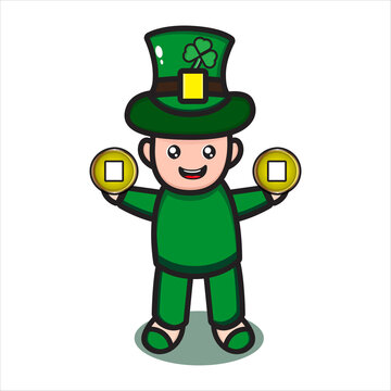 saint patrick cute character with coin vector eps 10